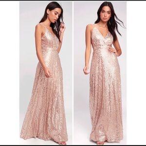 Lulus sequin maxi dress nwt